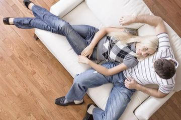 Young couple with hardwood flooring